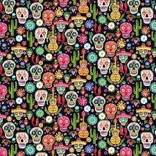 Fabric Sugar Skulls Day of Dead Dear Stella Black Cotton 1/4 yard 1497