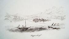Rapperswil Jona Schweiz echter alter Kupferstich um 1840