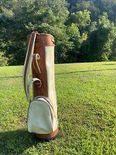 Vintage Vanguard Golf Bag White And Brown Leather Golf Cart Bag 3 Way