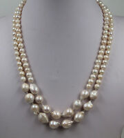 "19"" 2 Strands White reborn keshi freshwater pearl Pearl Necklace"