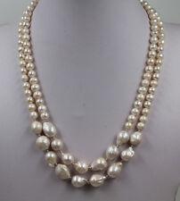 "19"" 2 Strands White reborn keshi freshwater pearl Pearl Necklace"