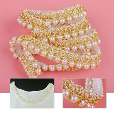 Applique Lace Trim Embroidered Pearl Edge Ribbon Sewing Wedding Dress DIY Crafts