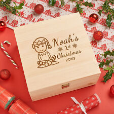 Personalised Engraved Wooden Baby 1st Christmas Gift Box - Elf 1st Xmas