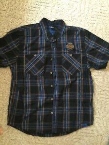 MENS SZ XL REG HARLEY-DAVIDSON 115 YEARS BLUE PLAID SHORT SLEEVE DRESS SHIRT NEW