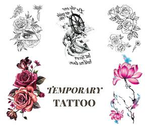 Tattoo Body Temporary Sticker Roses Black Halloween Woman Girl Party Fake Art UK