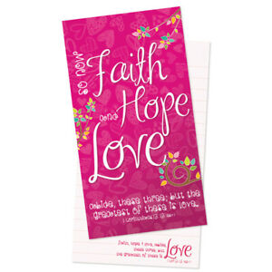 Faith Hope Love Christian Gift Jotter Notepad Ruled with Bible Verse
