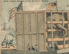 NYC TRADE CARD VANDERBILT BROS FARM IMPLIMENTS, JUMBO CAGED LEAVING ENGLAND Z241