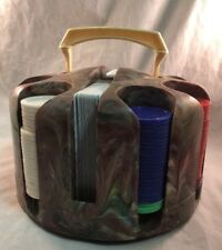 Vintage Marbled Plastic Poker Chip Caddy Carousel Playing Cards Chips