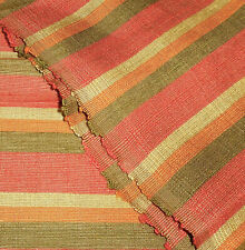 Vintage French Silk Cotton Cabana Stripe Fabric ~ Melon Tangerine Olive Yellow