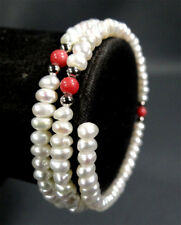 A Beauty Victorian Coral Beaded Natural Pearl beads Cuff Bangle Bracelet Armband