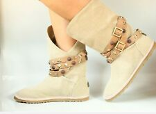 AUSTRALIA LUXE 'Sinbad' sand canvas boots wrapped leather belt  sz Us7/EU38