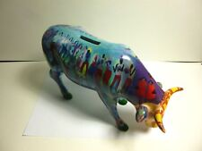"COW PARADE 2002 SUMMERTIME BANK #7464 ""LARGE RARE"" CERAMIC COW BANK 10""LONG"