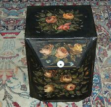 """Antique  Toleware Storage Bin FLOWERS CERAMIC HANDEL 15 """"H X12 1/2"""" D X 101/4""""W"""