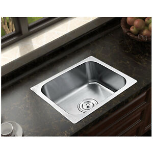 420x360mm Small Stainless Steel Kitchen Sink Square Single Bowl Drainer Waste