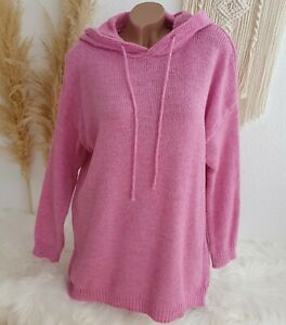 Italy Hoodie Pullover  Strick Pulli Kapuze Oversize Blogger Winter 38 40 42 Pink