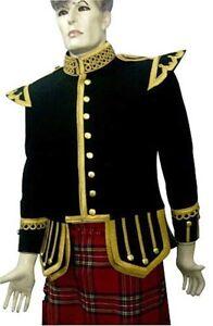 Piper or Drummer Doublet Black Blazer Wool Gold Braid And Trim Fancy Collar