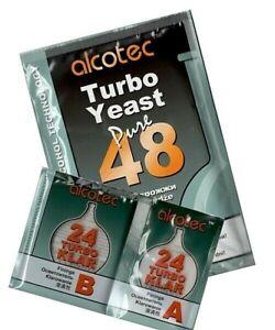 Alcotec 48 Yeast + Alcotec Turbo Klar 24 Turbo - Home Brewing - Free P&P UK