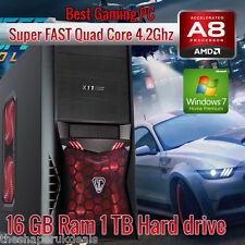 Super FAST Quad Core 4.2Ghz 16GB 1TB Gaming PC AMD RADEON R7+WINDOWS 7+WIFI