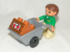 Lego Duplo Mann Zoowärter mit Schubkarre und Obstkiste