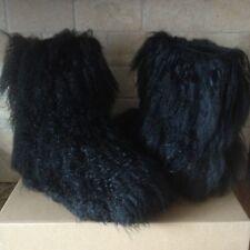 UGG Fluff Momma Mongolian Long Curly Sheepskin Black Short Boots Size 9 Womens