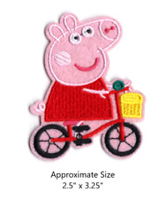 Peppa Pig on Bicycle Embroidered Iron and/or Sew On Patch