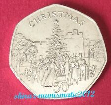 1982 Isle of Man Christmas 50p Fifty Pence Coin  Castle town