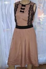 AB Dorothy Perkins Tan Light Brown Nude Black lace bow Skater Dress Sz M 10-12