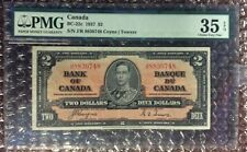 1937 $2 Canada Banknote BC-22c Coyne | Towers PMG 35 EPQ S/N J/R 8830748