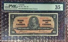 1937 $2 Canada Banknote BC-22c Coyne | Towers PMG 35 EPQ S/N J/R 8830748