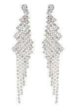 Orecchini a Clip-Argento Lampadario Orecchini con cristalli chiari-Candra S