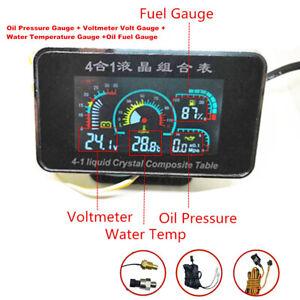 NEW 4 IN 1 Oil Pressure Gauge+Voltmeter+Water Temperature Gauge+Oil Fuel Gauge