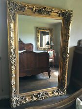 ANTIQUE GOLD ORNATE LARGE FRENCH OVERMANTLE WALL DRESS LEANER WOOD MIRROR 6FT