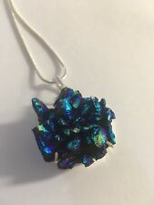 """1.9"""" Titanium Coated Druzy Pendant/NECKLACE WITH CHAIN-N7782"""