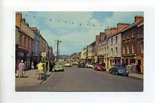 Ireland, County Donegal vintage postcard, Buncrana, Main Street view, people, VW