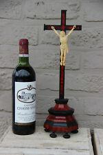 Antique 1880 French religious wood ebonized wood crucifix cross