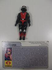 Vintage GI Joe ARAH Strato Viper v1 Night Raven Pilot Figure Complete File Card