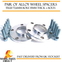 Wheel Spacers 15mm (2) Spacer Kit 5x120 72.6 +Bolts for BMW 3 Series [E90] 06-12
