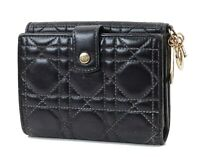 Authentic CHRISTIAN DIOR Black Quilted Leather Bifold Wallet #32520