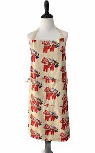 Mia L. Red Dala Horse Apron Swedish Dala Horse and Floral Design Front Pocket