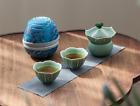 Portable Green Ceramic Tea Set Travel Bag Flower Teapot Tea Cups Loose Leaf Tea
