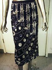 Vintage trophy beaded sequined navy blue silk skirt