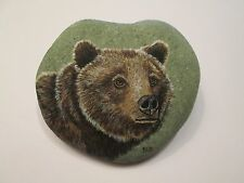 Grizzly Bear Portrait hand painted on a rock by Ann Kelly