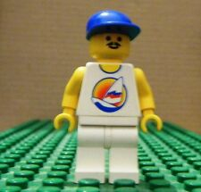 LEGO MINI–TOWN–PARADISIA–SURFBOARD ON OCEAN–WHITE LEGS, BLUE CAP– GENTLY USED