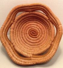 Vintage Pine Straw Basket Brown Coiled 9.5