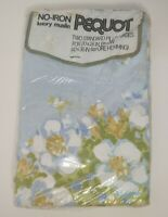 Vintage Pequot Muslin Pillowcases Two Standard Pillowcases blue Floral NOS