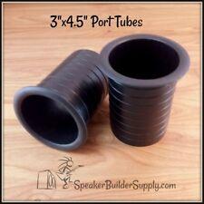 """Pair Of 3""""x4.5"""" black plastic port tubes for speaker cabinets"""