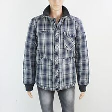 NEW Duck & Cover Mens Size L Zip & Button Up Fleece Blue Check Jacket