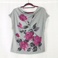 Phase Eight Grey & Pink Floral Sleeveless Scoop Neck Top UK Size 12
