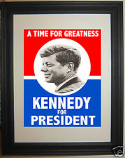 John F. Kennedy JFK reprint 1960 Campaign Poster Framed Photo Photograph Picture
