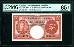 Jamaica 1953-1958, 5 Shillings, P37b, PMG 65 EPQ GEM UNC